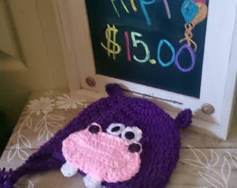 Hand Crochet Hippo Hat