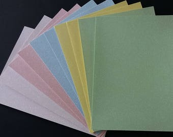 10 x A4 Pastel Soft Touch Glitter Card