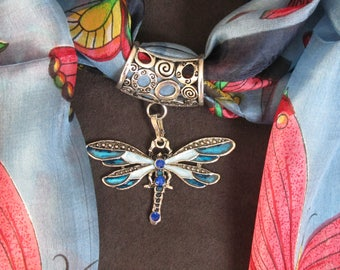 Dragonfly scarf ring with circles bail