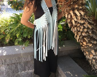 baby blue and silver leather fringe vest size M