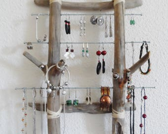 Jewelry wall driftwood and steel frame
