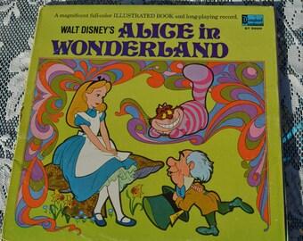 Vintage Alice in Wonderland Vinyl records with storybook