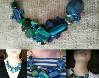 Sea Treasures Big Necklace with Gems and Dichroic Glass