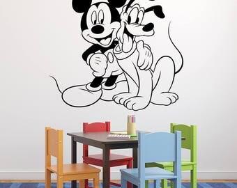 Mickey Mouse Wall Decal - Kids Bedroom Disney Wall Decal -  Mickey and Pluto Disney Wall Art - Playroom Decal - Nursery Vinyl Wall Decal