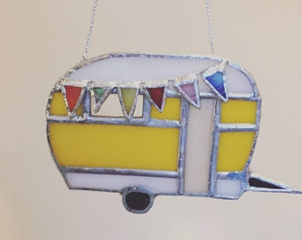 Stained glass vintage caravan