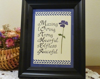 Framed Mother Sentiment with Real Pressed Flower