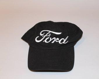 Vintage Ford Script Logo Black Strapback Dad Hat