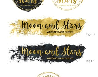 Wedding Logo design, Gold Logo, Business Logo and watermark, Premade wedding planner logo, Premade brand package, Circle Blog logo 024