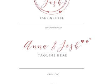 Watercolor Wedding Logo Design, Rose Gold Photography Logo, Premade wedding planner logo, Anniversary logo, Calligraphy, Feminine logo, 017