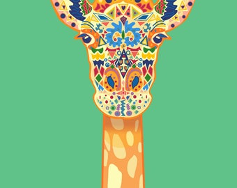 Giraffe African Digital Printable Download 5 x 7 inches