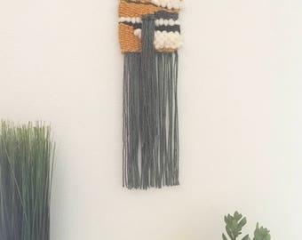 Sunshower | Mini Woven Wall Hanging, yarn weaving, woven tapestry, tassels weaving, wall decor, yellow and grey weaving