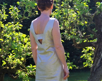 Dress neckline Golden flax back made in Paris