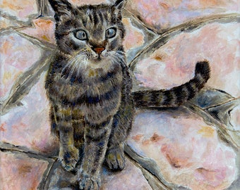 Cat On Stone Pavement Original Painting Oil Color High Quality Giclée Print home decor office nursery animal art gift PRINT wall decoration