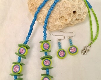 Polymer Clay Dots and Dashes Beaded Necklace/Earring Set
