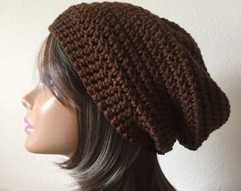 Brown Slouchy Beanie,  Cocoa Brown slouchy hat, Ready to Ship,  Adult or Teen Crochet Slouchy Hat,  Trendy Beanie