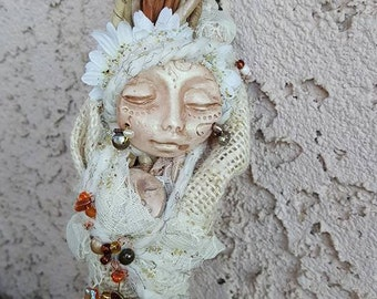 OOAK art doll,  Little Moon Goddess, Equinox Moon, Cottage Art Doll, Soft Sculpture, Sacred Feminine Art