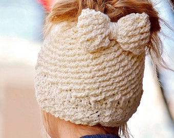 Katlyn Messy Bun beanie - Crocheted Ponytail Hat - Messy Bun Hat - Ponytail Hat - Crochet Garden Design Made To Order: So Many colors!