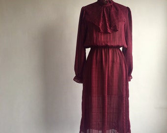 Vintage Burgundy Red Secretary Dress
