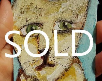 SOLD------------------------------Cat, ACEO, Original Painting, Art Card, Landscape Painting, Small Art,  Winjimir, Card, Pets, Cat Painting
