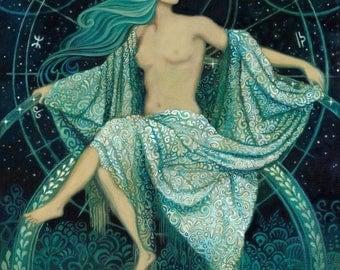 Asteria Goddess of the Stars 20x24 Poster Print Greek Mythology Art Print Pagan Psychedelic Bohemian Gypsy Witch Goddess Art