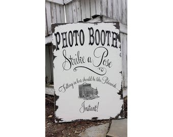 Photo Booth Sign   Photo Booth Prop   Wedding Photo Booth Sign   Photo Booth Ideas   Vintage Wedding Decor   Photobooth Strike a Pose Sign