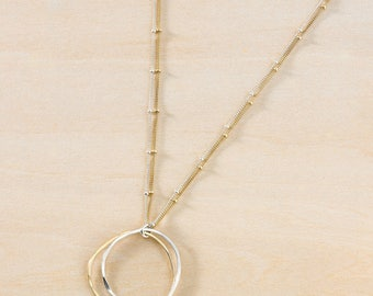 Mixed Metal Irregular Circles in Sterling Silver and Gold Filled, Double Strand Silver and Gold Adjustable Chain, Glamorous Everyday Jewelry