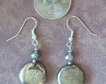 Silvery Gray Disk Pierced Earrings
