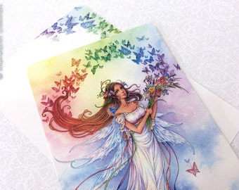 Rainbow Fairy Art, Postcard, Rainbow, Butterflies, Watercolor art print, Iris Flowers
