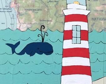 Gold Beach / 5 x 7 Map Painting / Lighthouse Art / Map Art / Modern Decor / NW Art / Whale Art / Rachel Austin / Travel Art / Modern Nursery