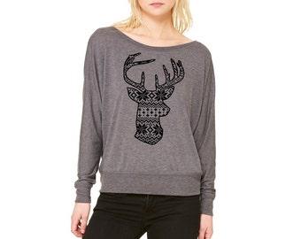 Christmas deer shirt Off Shoulder womens Sweatshirt Holiday deer Shirts Women's Clothing woodland Print Long Sleeve Raglan Tops Active wear