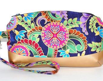 Jewel Flowers Wristlet Purse - Multicolored, Floral Fabric, Metallic Fabric, Gold Faux Leather, Evening Bag, Wrist Strap, Travel Handbag