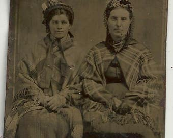 Tintype women shawl tartan plaid shawl fabric hat vintage photo dress 1/4 plate mother daughter