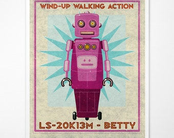 "Retro Robot Art Print- Betty Box Art Robot Decor 8"" x 10"" Science Fiction Art for Kids Rooms or Robot Nursery Decor- Kid Bedroom"