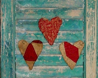 3 Primitive Heart Ornaments, Red & White Antique Quilt Hearts, Farmhouse Decor, Tattered Hearts, Farmhouse Style - READY TO SHIP