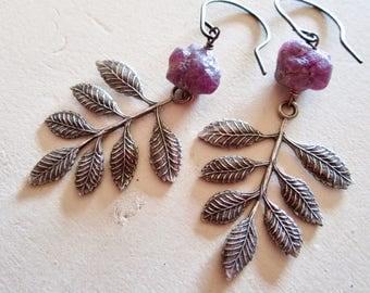Rough Ruby Belle Fleur - Raspberry Leaves - Oxidized Sterling Silver - Petal - Earrings - Etsy Jewelry - catROCKS -  Pink Magenta - Rustic