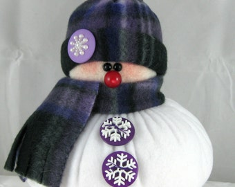Handmade Stuffed Snowman Decoration, Christmas Holiday Decor, Snowman Ornament, Winter Decor, Purple, Lavender, Black Plaid Fleece