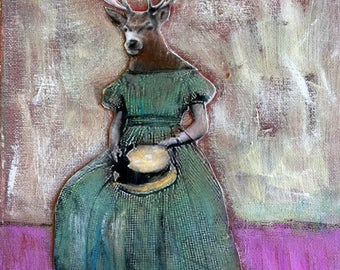 Painting Vintage deer womanl lovely original  mixed media  on canvas Heather Murray