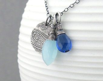 Simple Blue Necklace Beaded Necklace Sterling Silver Necklace Gemstone Jewelry Paisley Necklace Christmas Gifts for Her 2016 - Duets