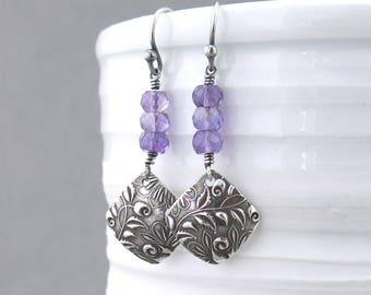 Purple Earrings Amethyst Earrings Silver Drop Earrings Small Gemstone Earrings Birthstone Jewelry Handmade Gemstone Jewelry - Tracey