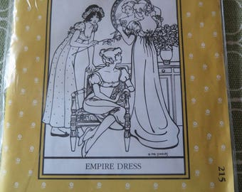 Vintage 80s Folkwear 215 Empire Dress Sewing Pattern in two lengths with Train Option sz 6-16 UNCUT
