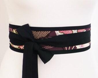 Obi wrap belt sash for kimono yukata robe dress - Black with beautiful japanese japan purple fabric - oriental retro fashion style