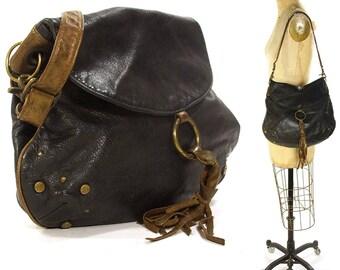 90s Liz Mole Hobo Bag / Vintage 1990s Soft & Slouchy Black Leather Shoulder Bag / Medium Size Studded Casual Purse with Shoulder Strap
