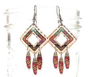Native American Inspired Dangle Earrings Vintage 80s Western Copper Enamel Southwest Pierced Navajo Pattern Taos Earrings Hippie Boho Ethnic