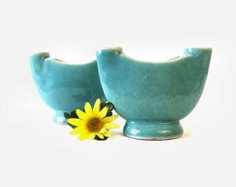 2 Winfield Pasadena Candlestick Vases, Mid Century Modern Pottery, Double Arm Candlesticks, Number 256