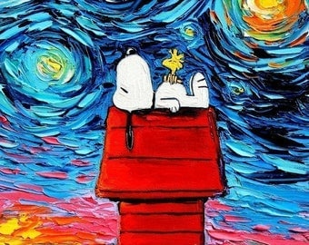 Snoopy Art - Peanuts Cartoon Starry Night rectangular print van Gogh Never Saw Woodstock by Aja 9x12 and 18x24 inches choose size