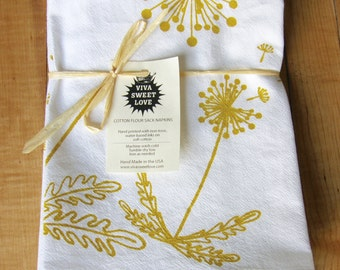 Dandelions Botanical Cloth Napkin Set, Hand Printed, Mothers Day Gift, Bright White Cotton, Mustard Yellow, Brown, Green, Hostess Gift