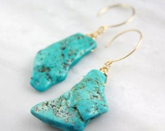 Raw Turquoise Chunk Gold Earrings