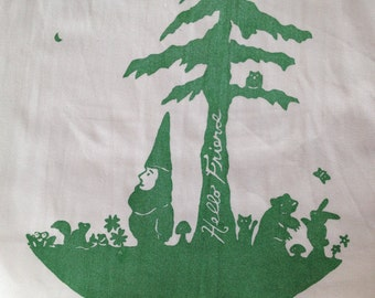 HELLO FRIEND Gnome and Forest Pals shoulder bag screen printed emerald green on white cotton jumbo sized eco friendly shopping tote bag