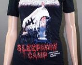Sleepaway Camp Horror Movie Halloween Off Shoulder Tunic Lace Top Shirt Goth 80s