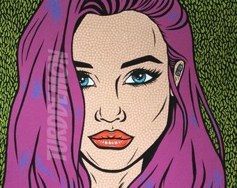 Extra Large Original Purple Comic Pop Art Girl Painting